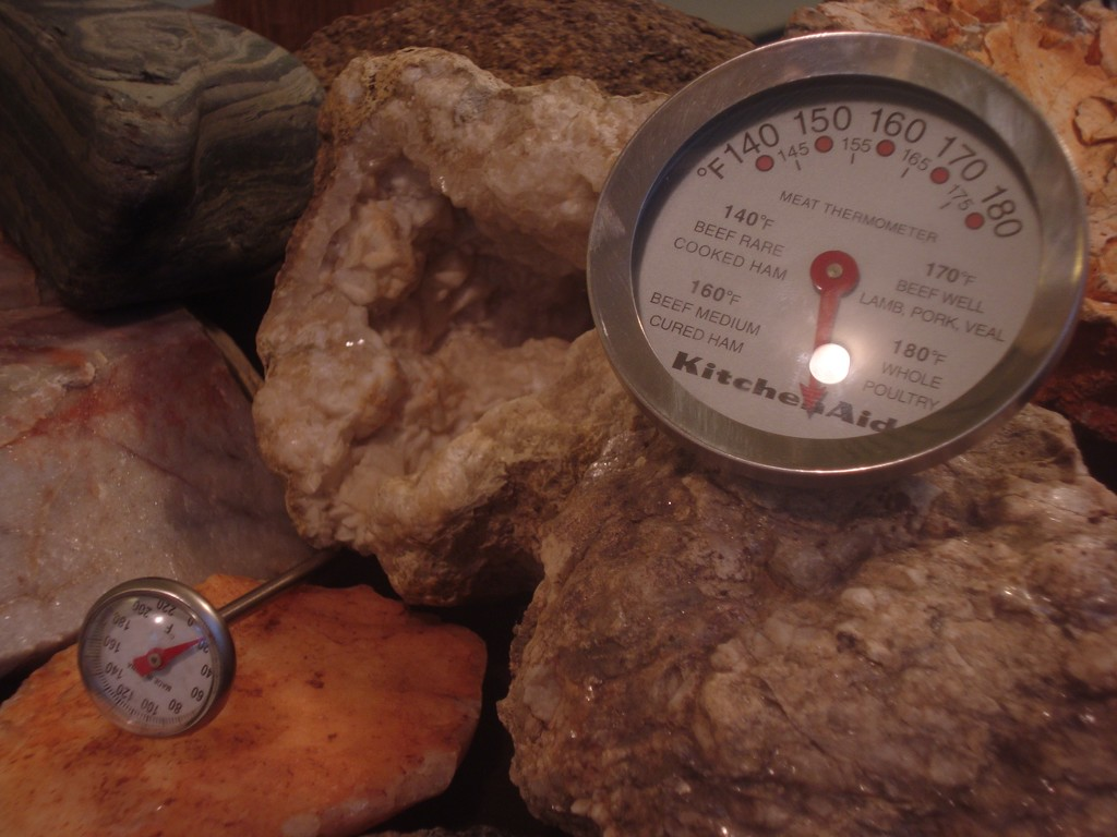 Still Life with Pretty Rocks and Kitchen Thermometers lighting variation by mcsiegle