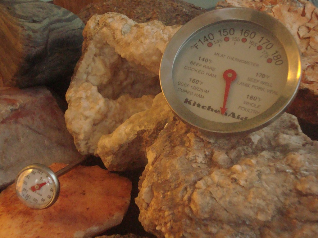 Still Life with Pretty Rocks and Kitchen Thermometers by mcsiegle