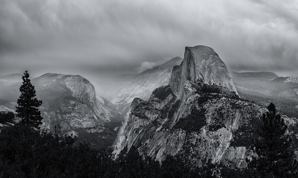 Stormy Morning On Glacier Point b and w  by jgpittenger