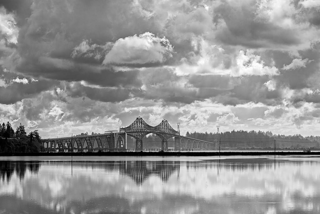 Tides High Below Coos Bay Bridge b and w by jgpittenger