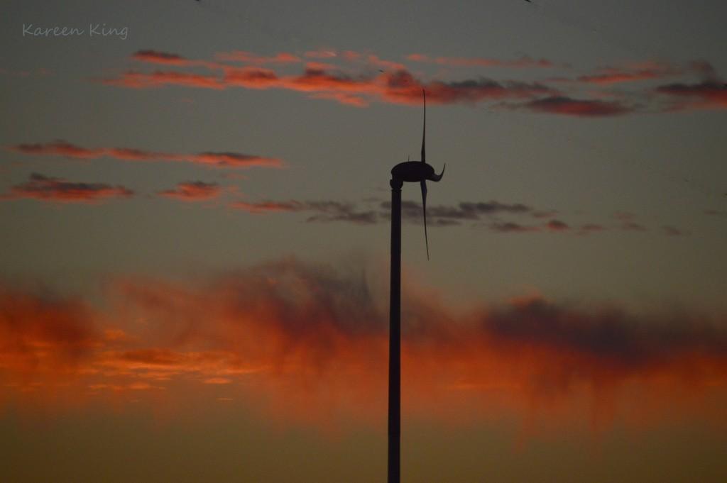 Kansas Windmill and Cloudfall at Dusk by kareenking
