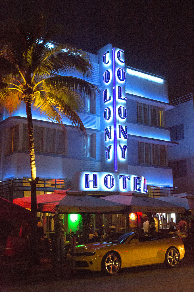 Neon-lit Art Deco Hotel by pdulis