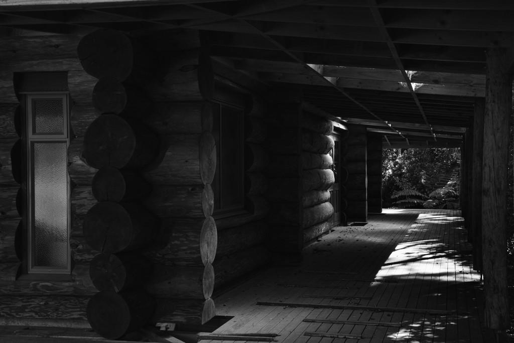 Loghouse shadows by kiwinanna