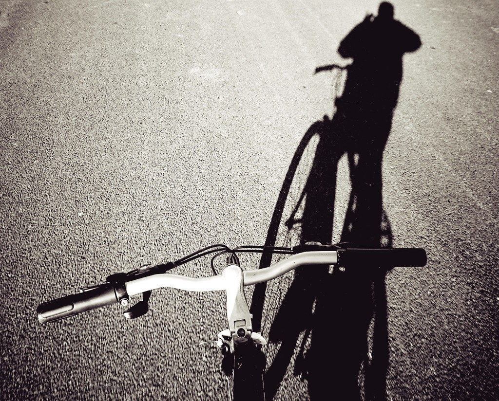 Hands free cycling, shadow selfie. by jack4john