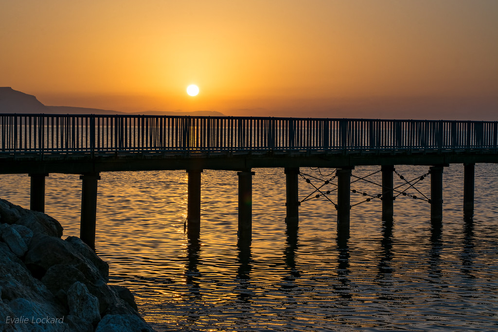 Limni Pier at sunset by evalieutionspics