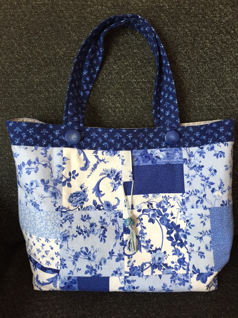 Blue and White Patchwork Bag by gillian1912
