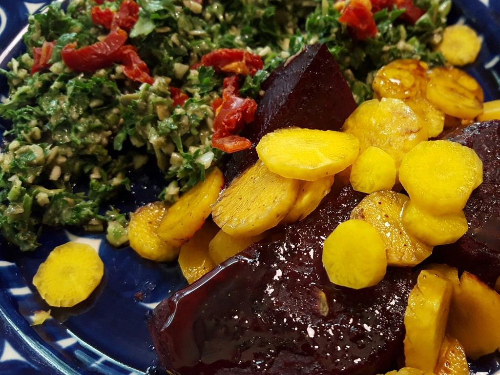 Roasted Beets, Fresh yellow Carrots, and Pumpkin Seed Tabouli (my new favorite dish ever) by darylo