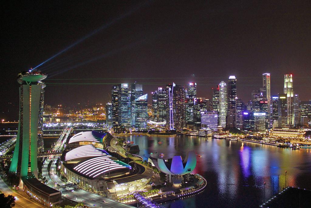 SIngapore Skyline at Night by jaybutterfield
