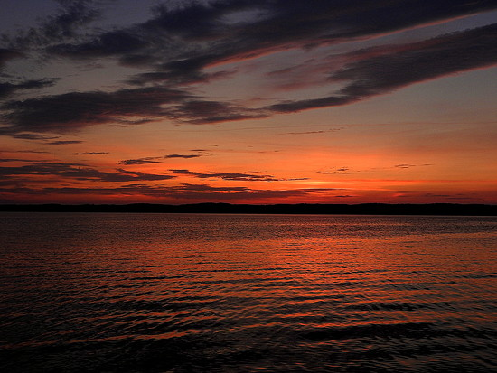Sunset over Jordan Lake by homeschoolmom