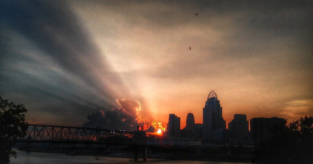 The Summer Sunset over Cincy by alophoto
