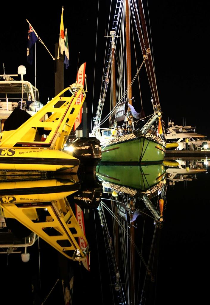 Boats at night by shepherdmanswife