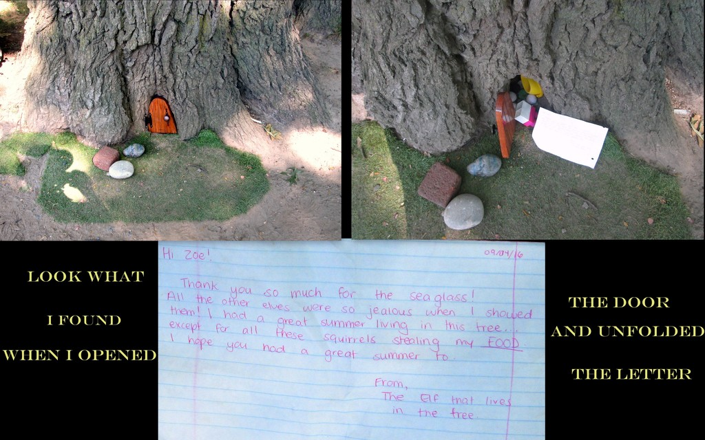 Elf leaves a note in a tree  by bruni