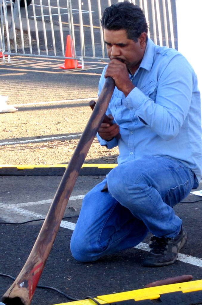 Australian Aboriginal Man playing the Digeriedoo by 777margo