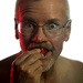 Self Portrait Eating Strawberry - Softbox LED Main / Gel LED Side