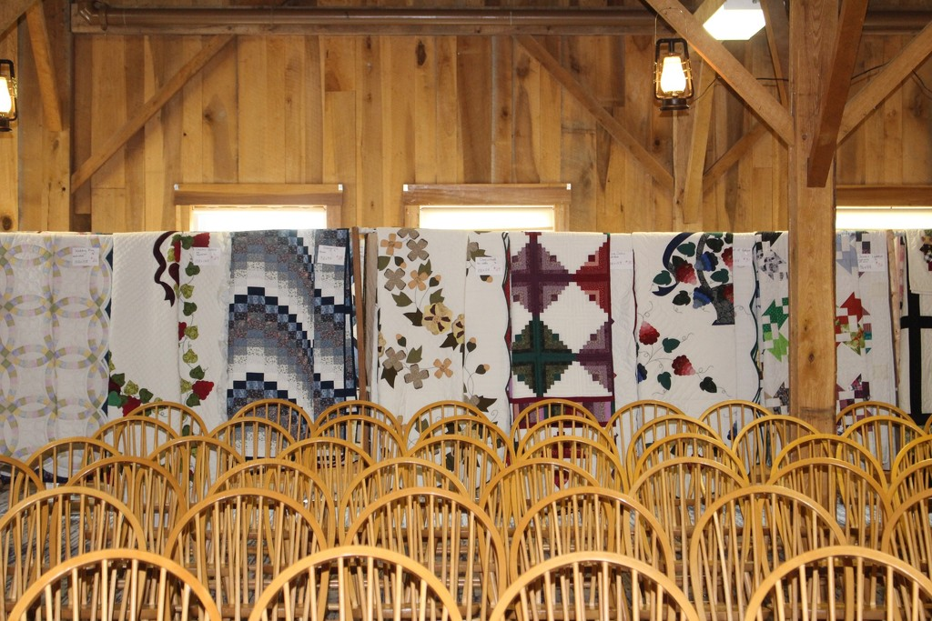 Set up for the first autumn quilt auction this weekend. by essiesue