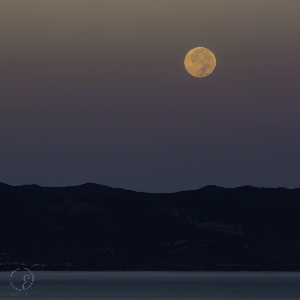 Moon over Chrysochous Bay by evalieutionspics