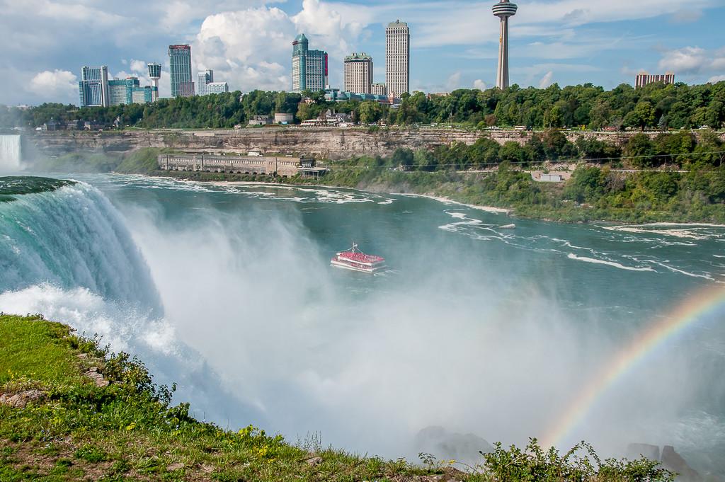 The falls, The Maid of the Mist, tall buildings & a rainbow by joansmor