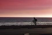 22nd Sep 2016 - Biker along Malibu Beach at Sunset