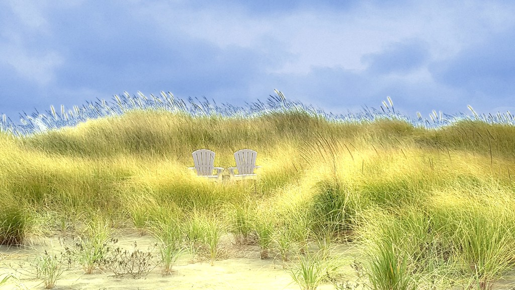 100 Happy Days 9 - Beach chairs in the dune grass by teiko