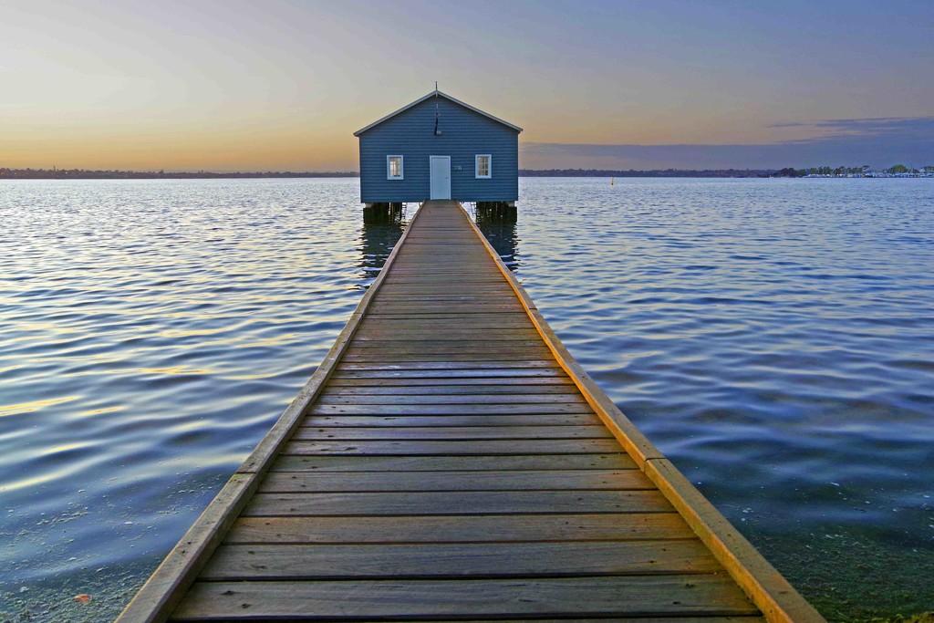 Blue boat shed Swan River Perth WA at sunrise by maureenpp