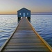 Blue boat shed Swan River Perth WA at sunrise by maureenpp