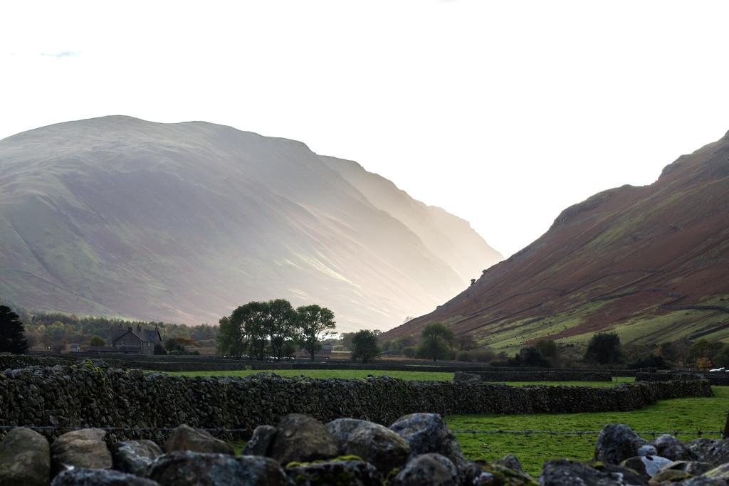 sunlight peeking through the hills.  Wasdale by callymazoo