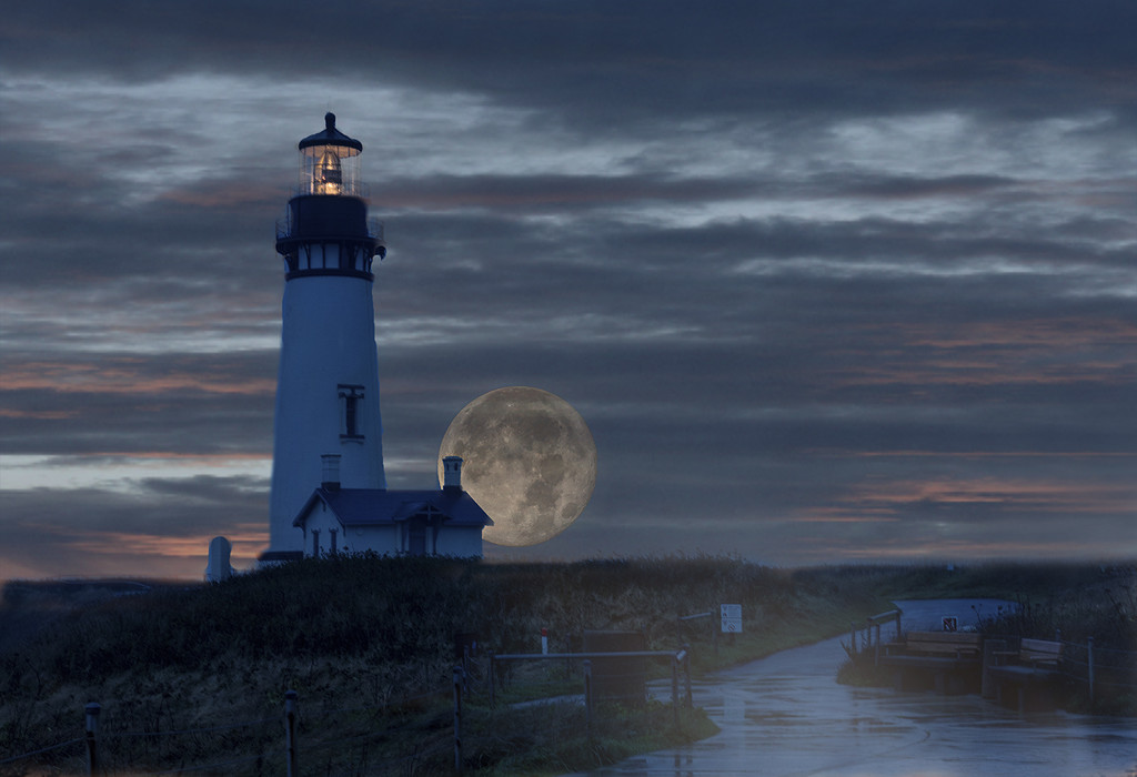 Rainy Night for Super Moon At Lighthouse by jgpittenger