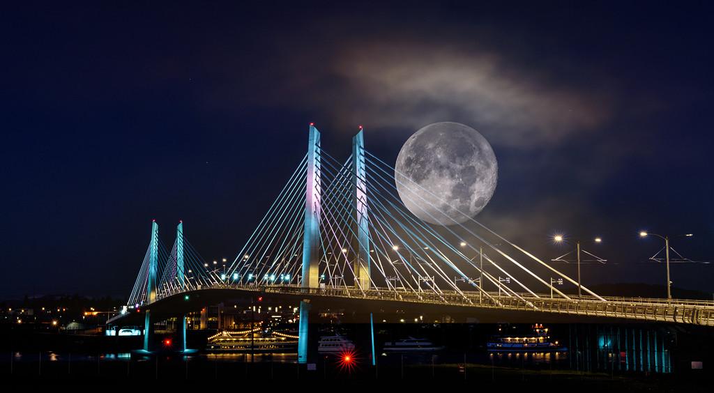 Super Moon Composite with Tillikum Bridge by jgpittenger
