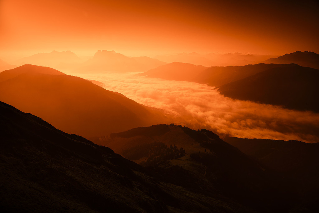 sunrise in the mountains by jerome