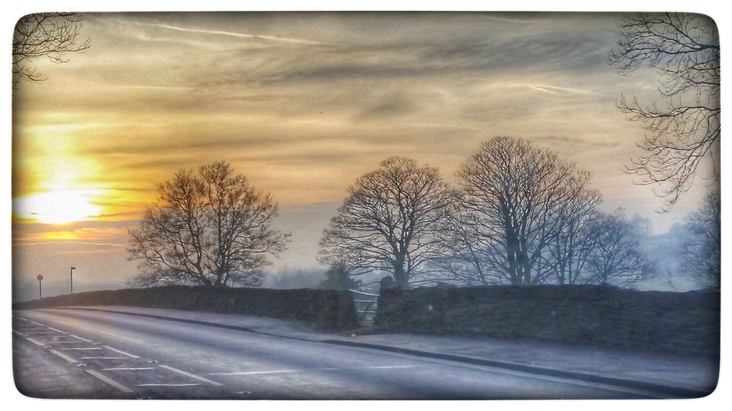 A wintery scene - taken from the car driving home from my son's, I wasn't driving by the way. It was a lovely sunset and there was a mist over the fields! by lyndamcg