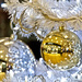 GOLD BAUBLES ON A WHITE CHRISTMAS TREE by sangwann