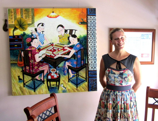 Louisa,  my youngest, standing by a painting of Chinese ladies playing Mah Jong by 777margo