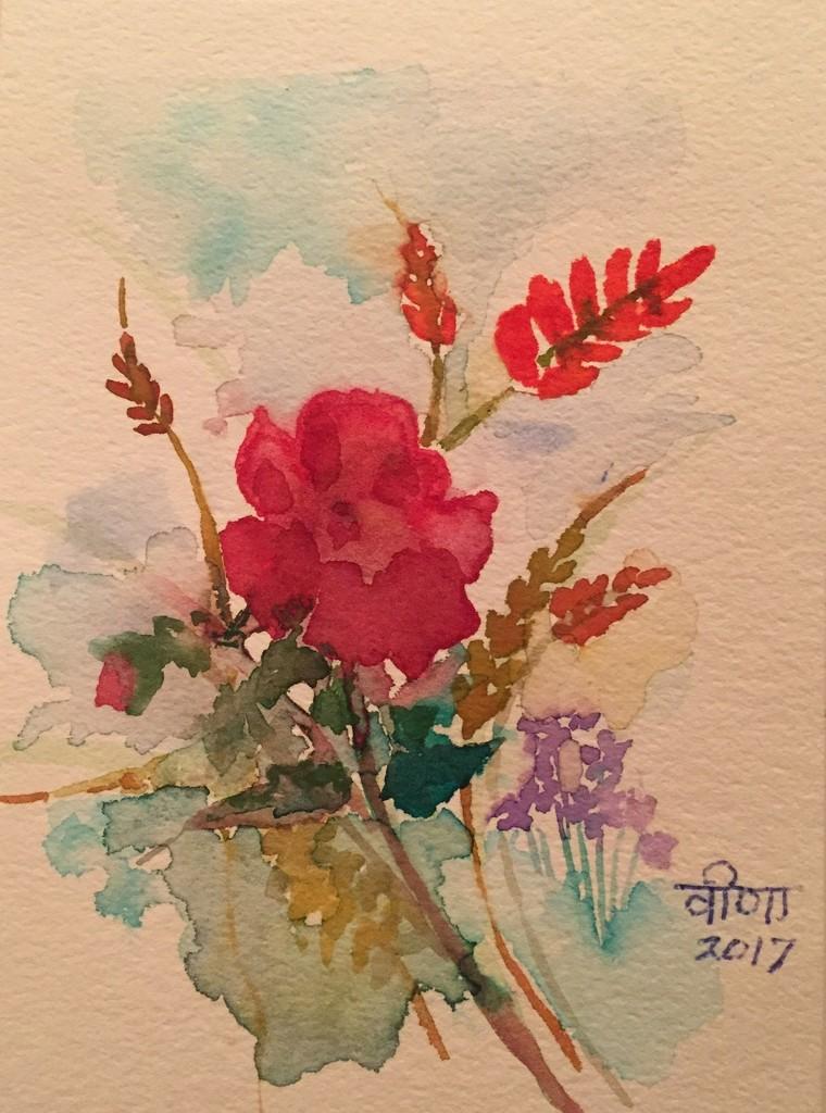 Watercolour flowers  by veengupta