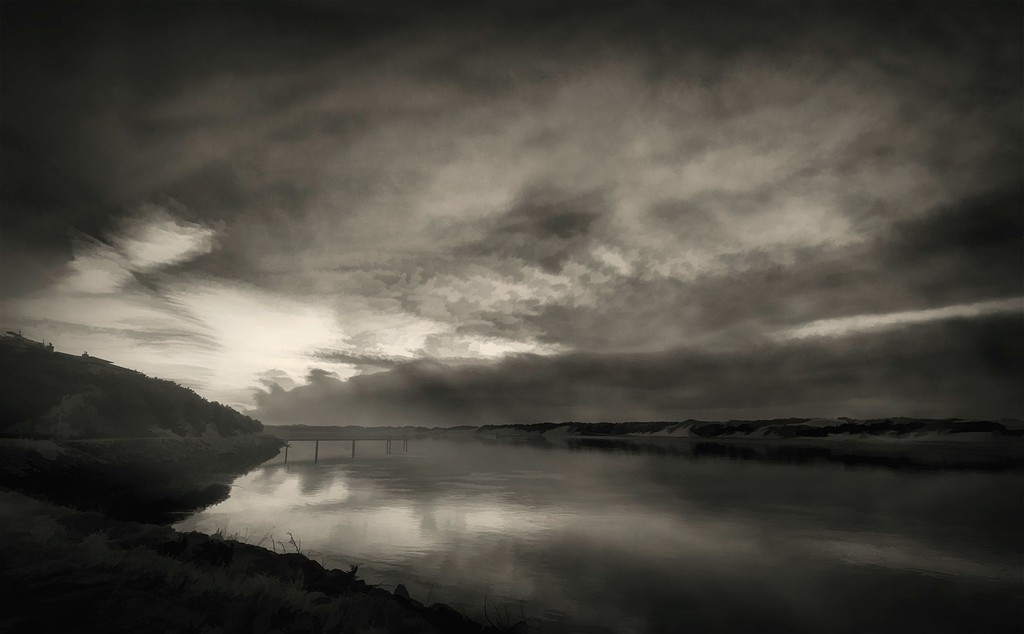 Days End At the River Black and White by jgpittenger