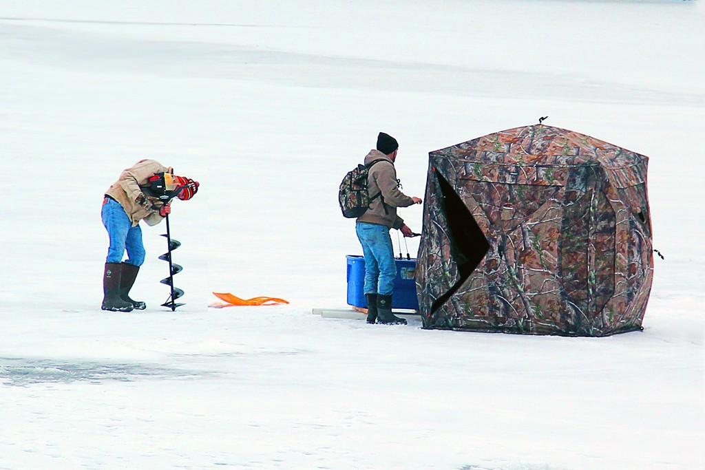 Ice Fishing on Oatka Creek by jaybutterfield