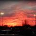 Sunset over Walmart parking lot