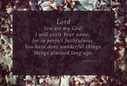 7th Jan 2017 - Isaiah 25:1
