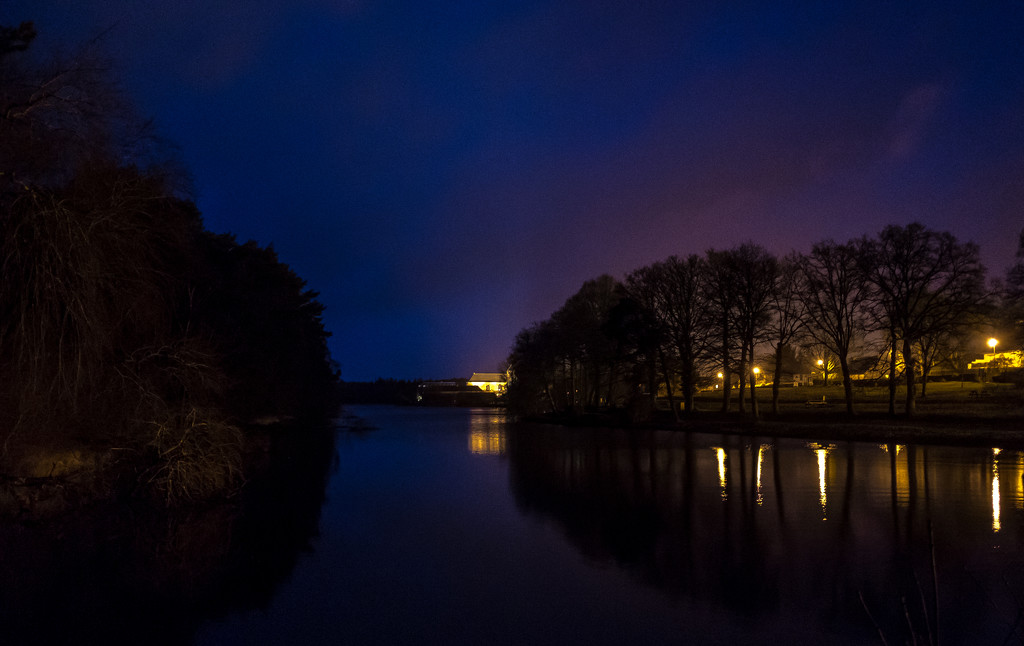 Paimpont Lake by night - looking north to the Abbey by vignouse