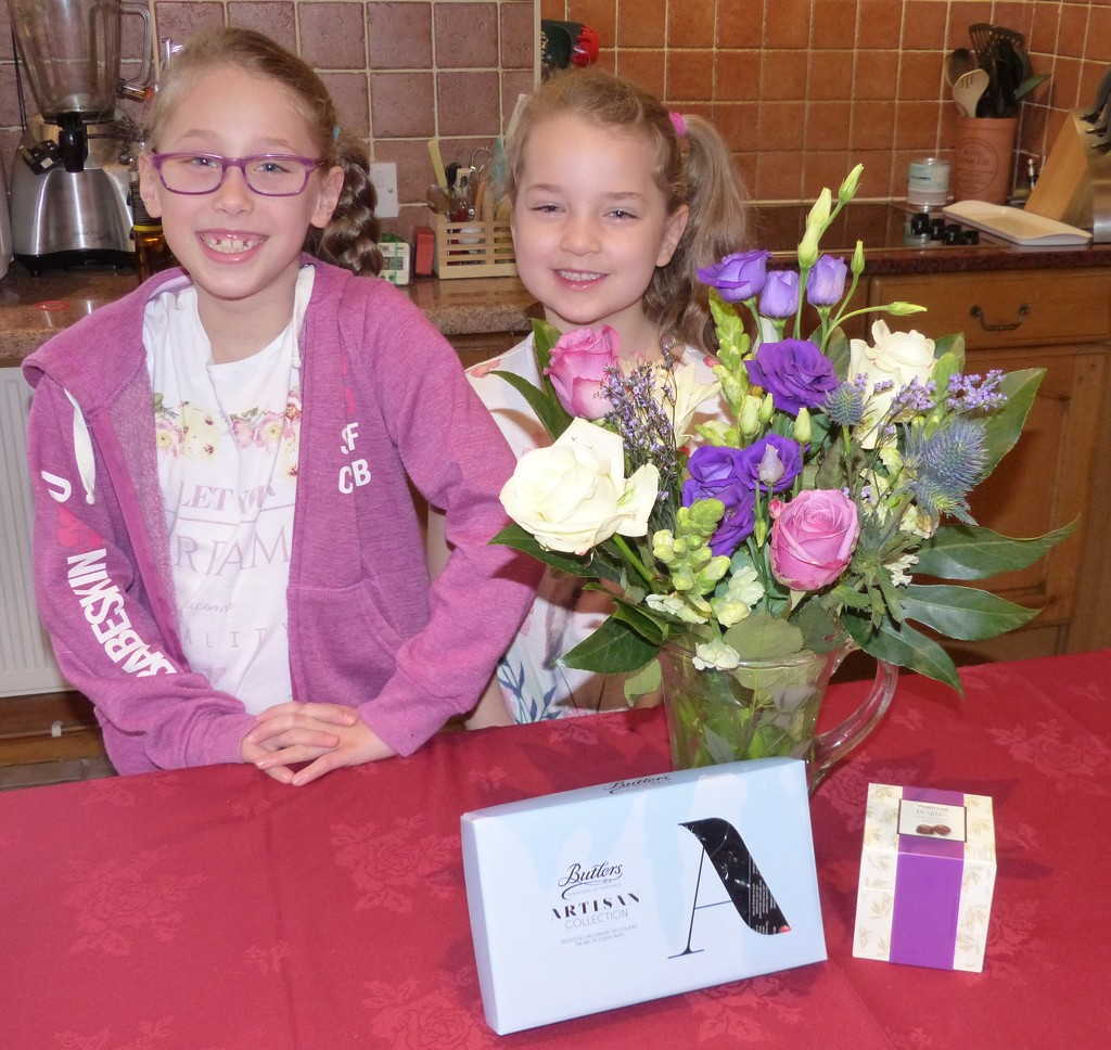 Two Special Girls, Flowers and Chocolates by susiemc