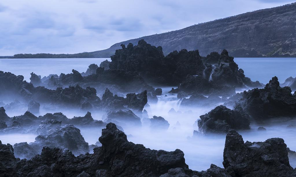 Twilight Waves On Lava  by jgpittenger