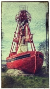 4th Apr 2017 - Preston Docklands entrance - grounded Nelson red 'bell-boat' buoy.