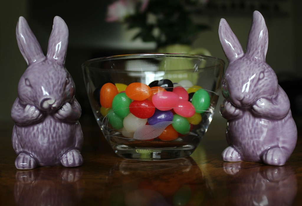 Bunnies with jelly beans by mittens