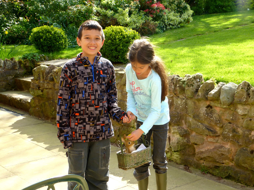 Jak and Lana on an Easter egg hunt in the garden ... by snowy