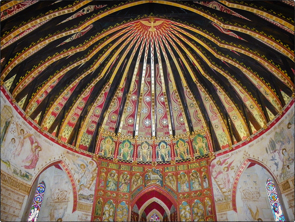 Hascombe church chancel, the roof rafters by ivan