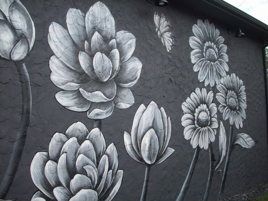 painted flowers mural  by stillmoments33