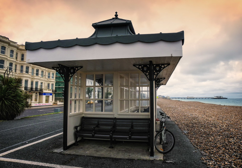 Different angle, different edit: Wind shelter, Worthing promenade by ivan