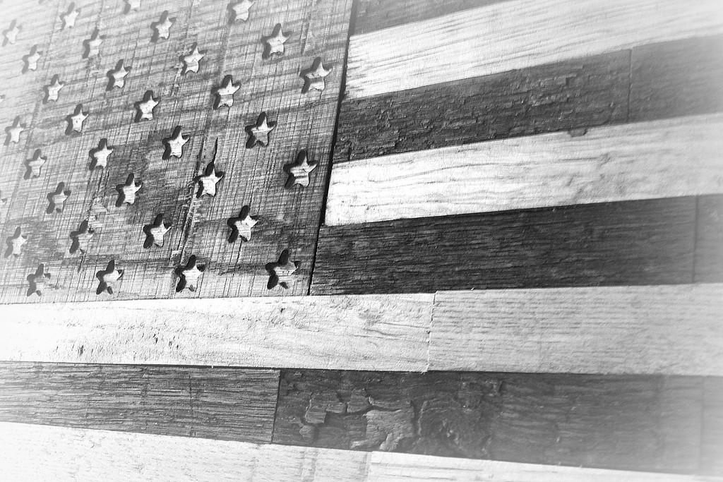 Bourbon Barrel Flag in Black and White by homeschoolmom
