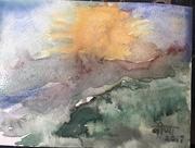 15th Aug 2017 - Watercolour of a mountain landscape