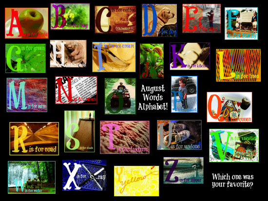 August Words Alphabet Collage by olivetreeann