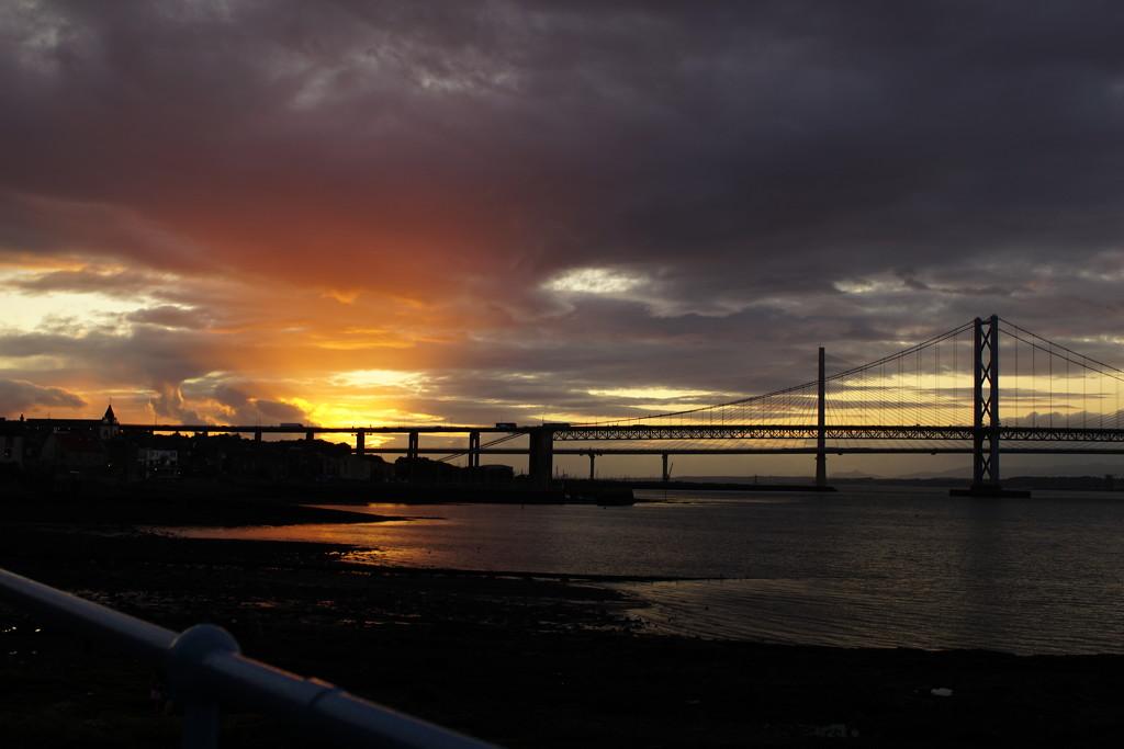 two bridges at sunset by quietpurplehaze